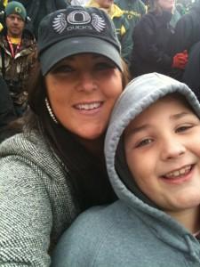Sarah Centrella with son Oregon Ducks